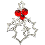 Signed SWAROVSKI Red Crystal Retired Holly Berry Christmas Pin
