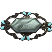 Art Deco Era Turquoise Blue Enameled Pin, Gray Center