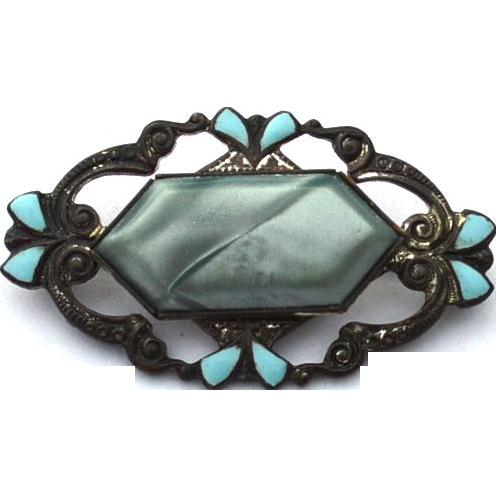 Art Deco Era Turquoise Blue Enameled Pin, Gray Center