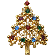 Vintage Signed EISENBERG ICE Rhinestone Christmas Tree Pin
