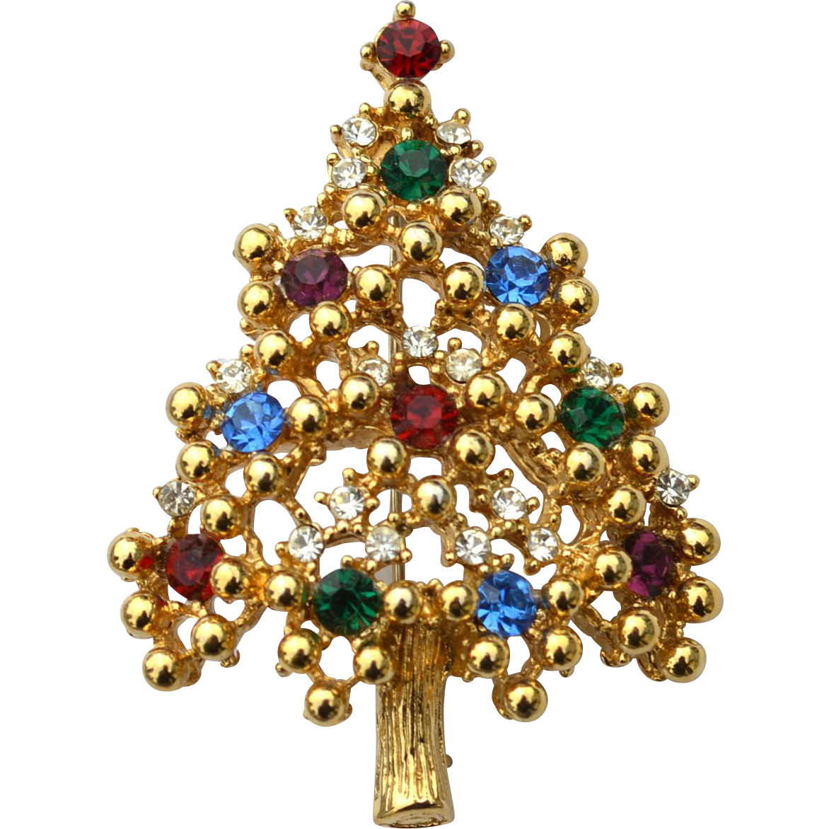 Vintage Signed EISENBERG ICE Rhinestone Christmas Tree Pin