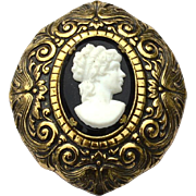 Early Vintage Black and White Glass Cameo Fur Clip
