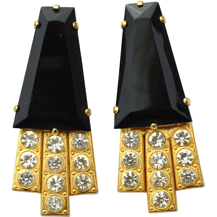 Vintage MARA KIBIAN BIJOUX Oversized Clip Earrings, Black Glass and Clear Rhinestones