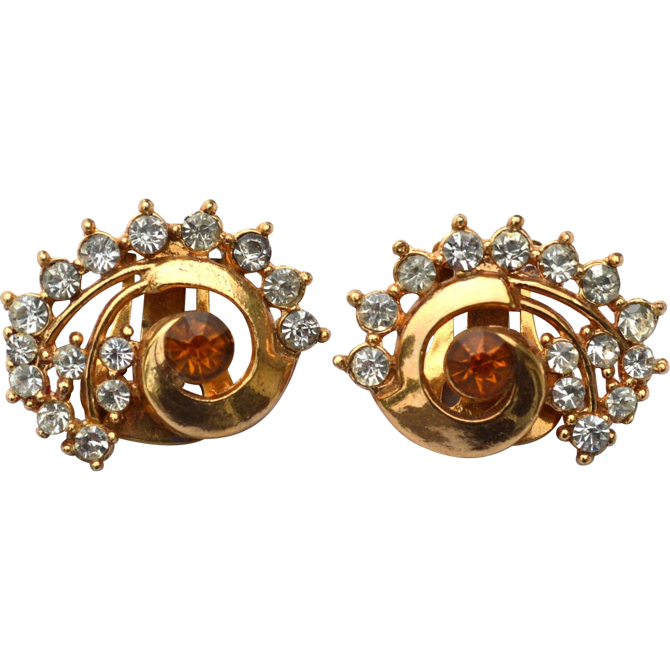 Vintage Signed LISNER Citrine and Clear Rhinestone Clip Earrings