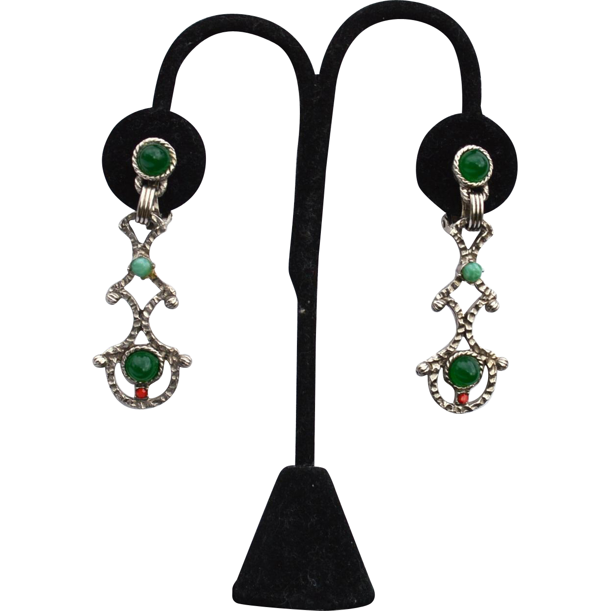 Vintage Bejeweled Clip Earrings, Emerald Green Glass Stones