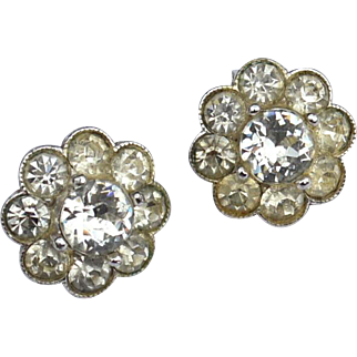 Early Vintage Signed BOGOFF Clear Rhinestone Clip Earrings