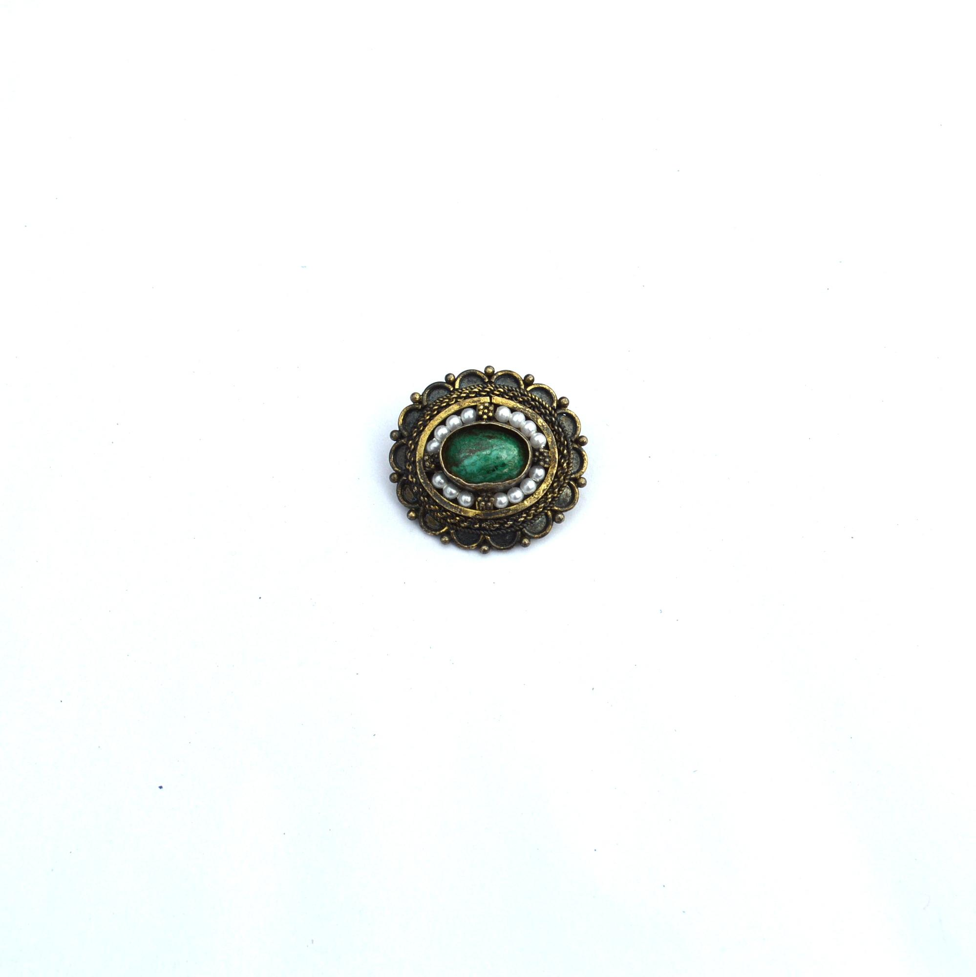 Vintage Eilat Stone and Pearl 950 STERLING SILVER Pin Pendant From Israel