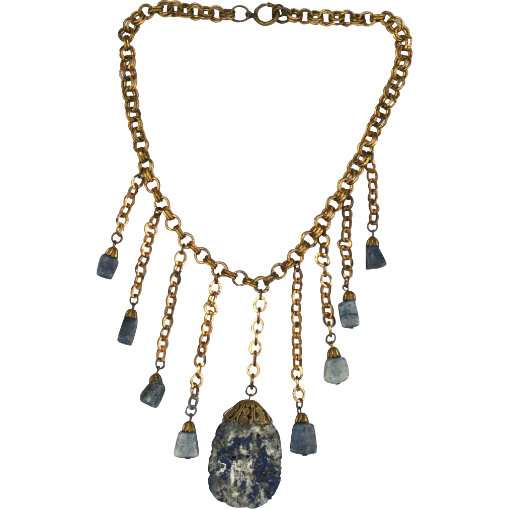 Very Unique Dangling Lapis Necklace, Brass Metal, Early Clasp