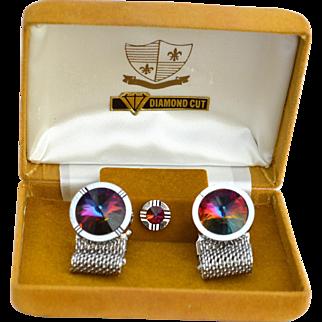 Vintage Diamond Cut Rivoli Cufflink Set, Mesh Wrap Cuff Links and Tie Pin, Original Box