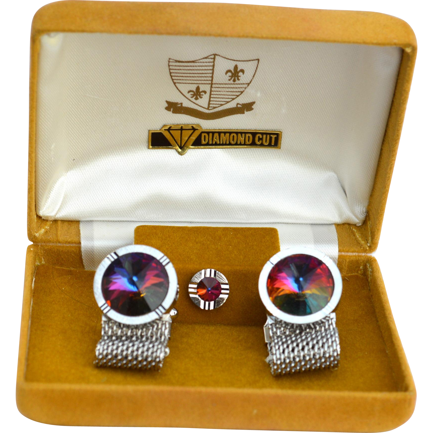 Vintage Diamond Cut Rivoli Cufflink Set, Mesh Wrap Cuff Links and Tie Pin, Original Box