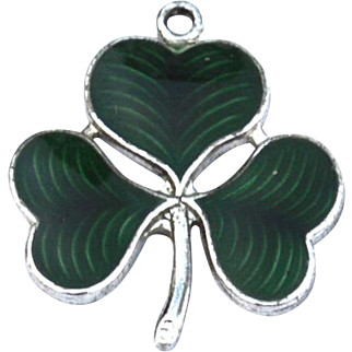 Early Hallmarked STERLING SILVER Whiteside and Blank Green Guilloche Enamel Clover Charm