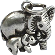 Vintage Hallmarked STERLING SILVER Elephant and Baby Charm