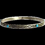 Vintage Navajo Native American DENNIS KALISTEO Sterling Silver and Turquoise Bangle Bracelet