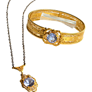 Circa 1933 Art Deco Era Filigree Gold Vermeil Bracelet and Matching Necklace, JJ WHITE, Large Amethyst Paste Stone