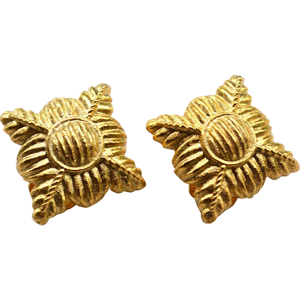 Vintage Signed GIVENCHY Gold Toned Clip Earrings