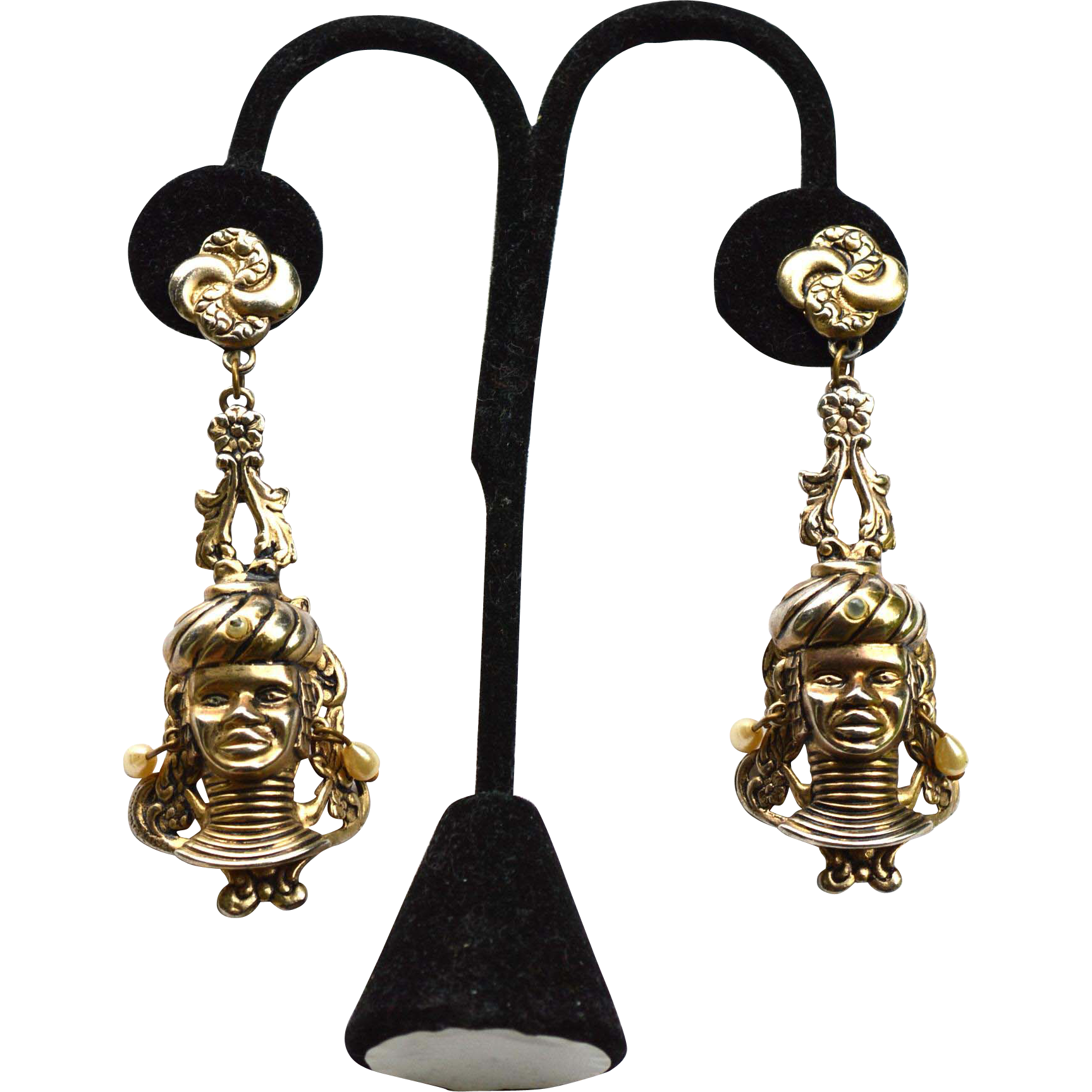 Over The Top Blackamoor Princess Earrings, Shoulder Dusters
