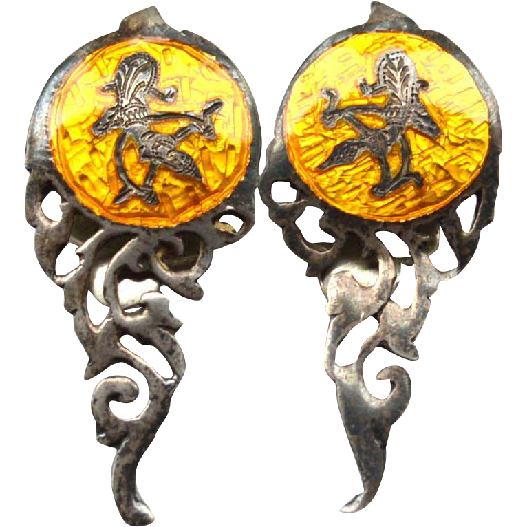 Vintage Hallmarked SIAM STERLING Yellow Clip Earrings