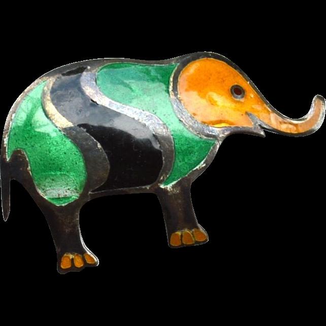 Vintage Hallmarked STERLING Enamel Elephant Pin Pendant Combo