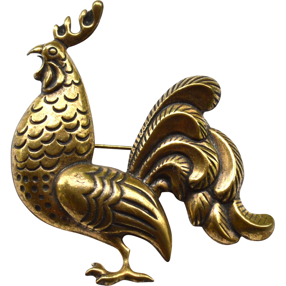 Antiqued Gold Toned Metal ROOSTER Pin