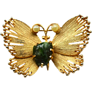 Vintage Signed LISNER Jade Stone and Faux Pearl Butterfly Pin