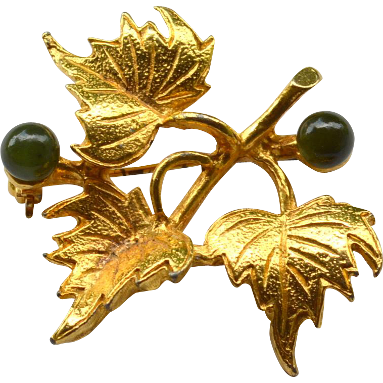 Vintage Signed HOBE' Gold Toned Leaf Pin With Jade Stones
