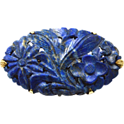 Early Hallmarked 14K Yellow Gold Pin, Large Hand Carved Lapis Stone