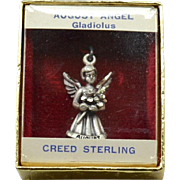 Vintage CREED STERLING Silver Angel Charm, August - Gladiolus, Original Box