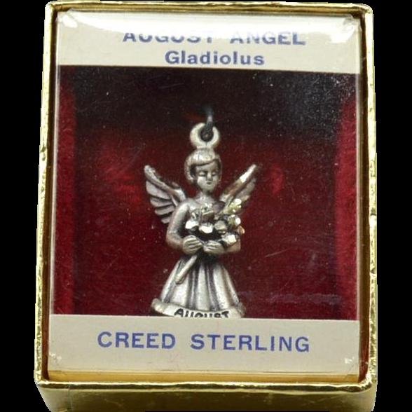 Vintage CREED STERLING Silver Angel Charm, August - Gladiolus, Original Box