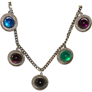 Vintage Dangling Multi-colored Silver Tone Necklace