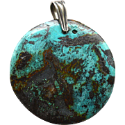 Oversized Vintage Hallmarked STERLING SILVER and Turquoise Pendant