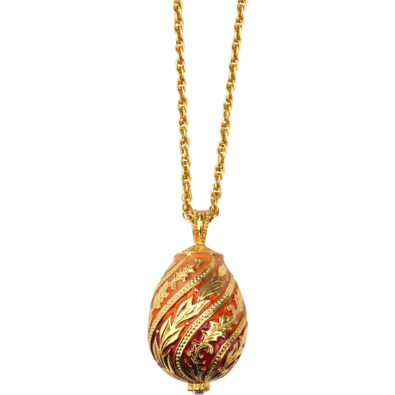 Signed JOAN RIVERS Ombre Enamel Egg Pendant Necklace