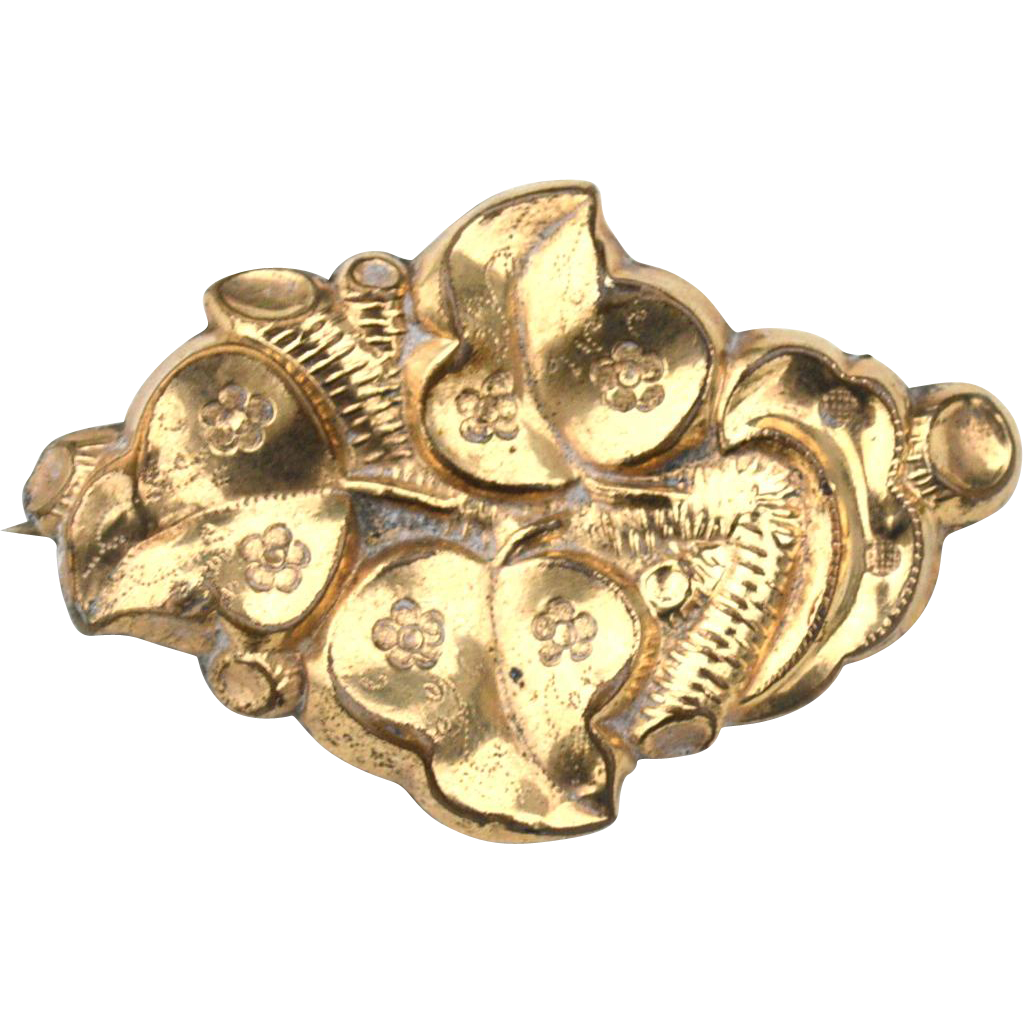 Victorian Era Gold Filled Ornate Pin, Floral Designs