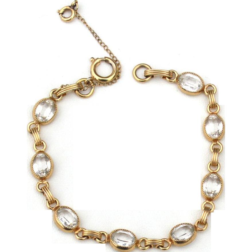 Vintage Hallmarked 12K Yellow Gold Filled Bracelet, Clear Stones