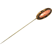 Victorian Era Pink and White Agate Gold Filled Ornate Stick Pin