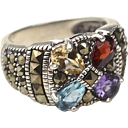Hallmarked STERLING SILVER Marcasite and Semiprecious Gemstone Ring