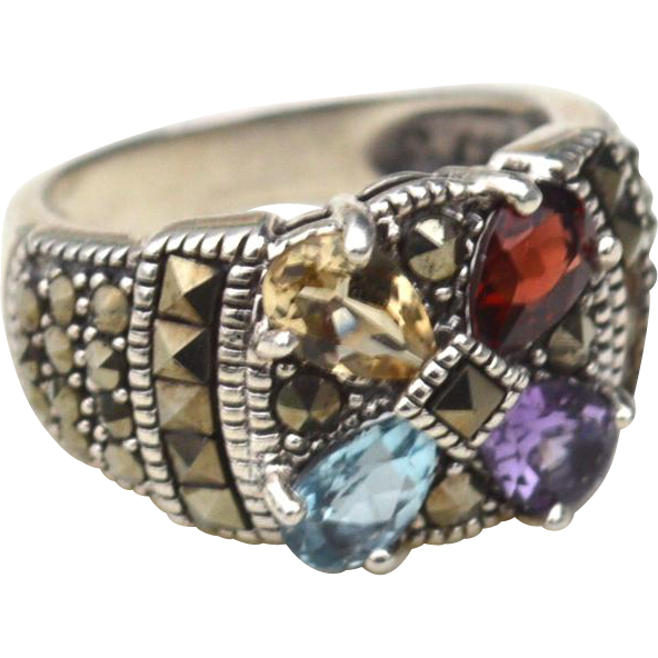 Hallmarked STERLING SILVER Marcasite and Semiprecious Gemstone Ring