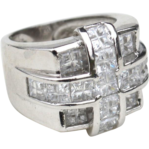 Enormous Square Shaped Clear Stone Ring, Hallmarked STERLING SILVER, Mens or Womens