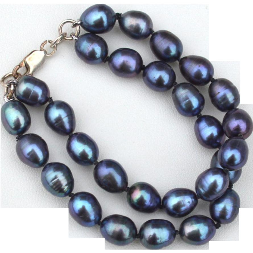 Vintage Hallmarked STERLING SILVER Black Freshwater Pearls Double Strand Bracelet