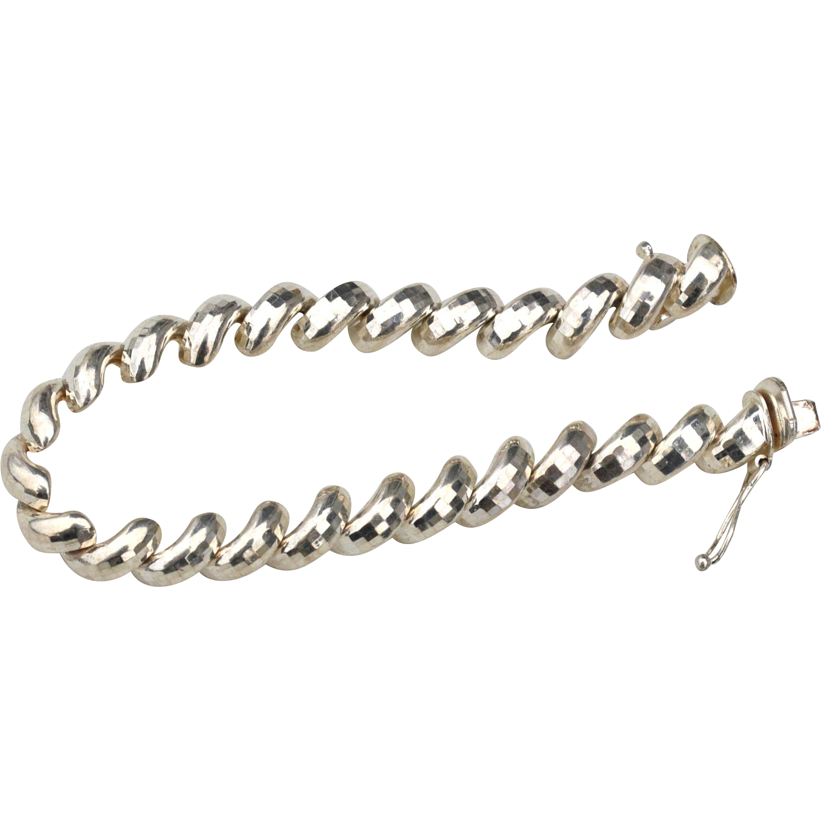 Hallmarked STERLING SILVER Italy Milor Dimensional Half Circle Bracelet