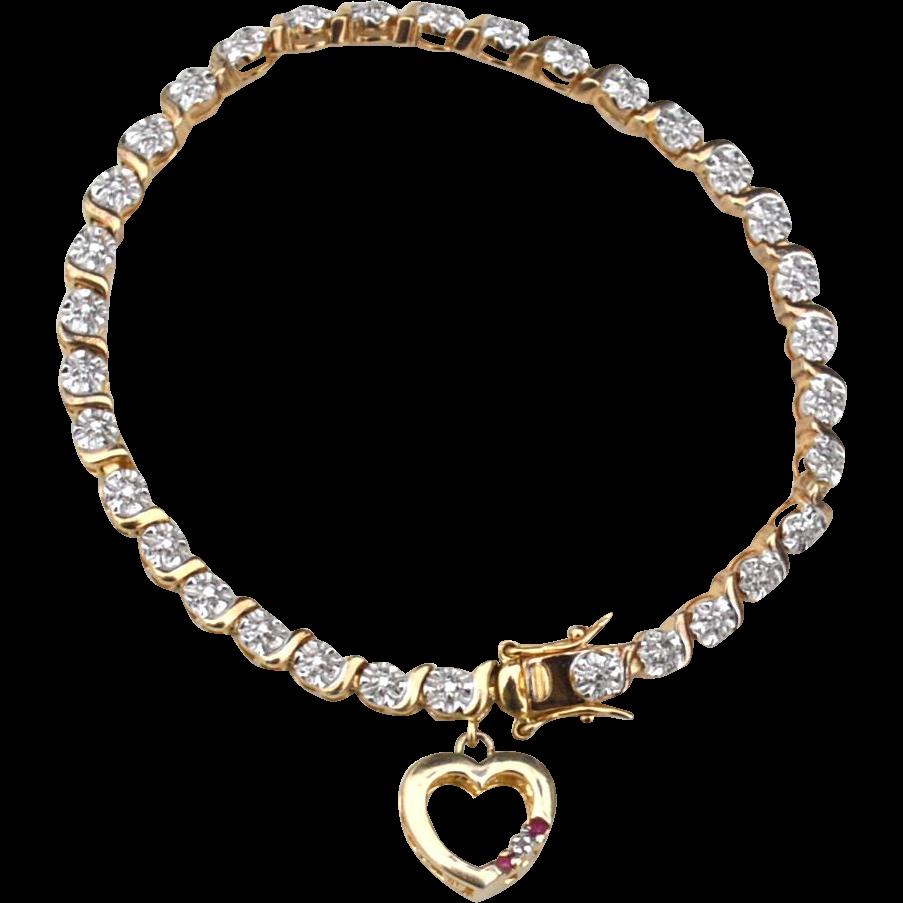 Hallmarked STERLING SILVER I Love You Heart Charm Bracelet, Diamond and Garnets