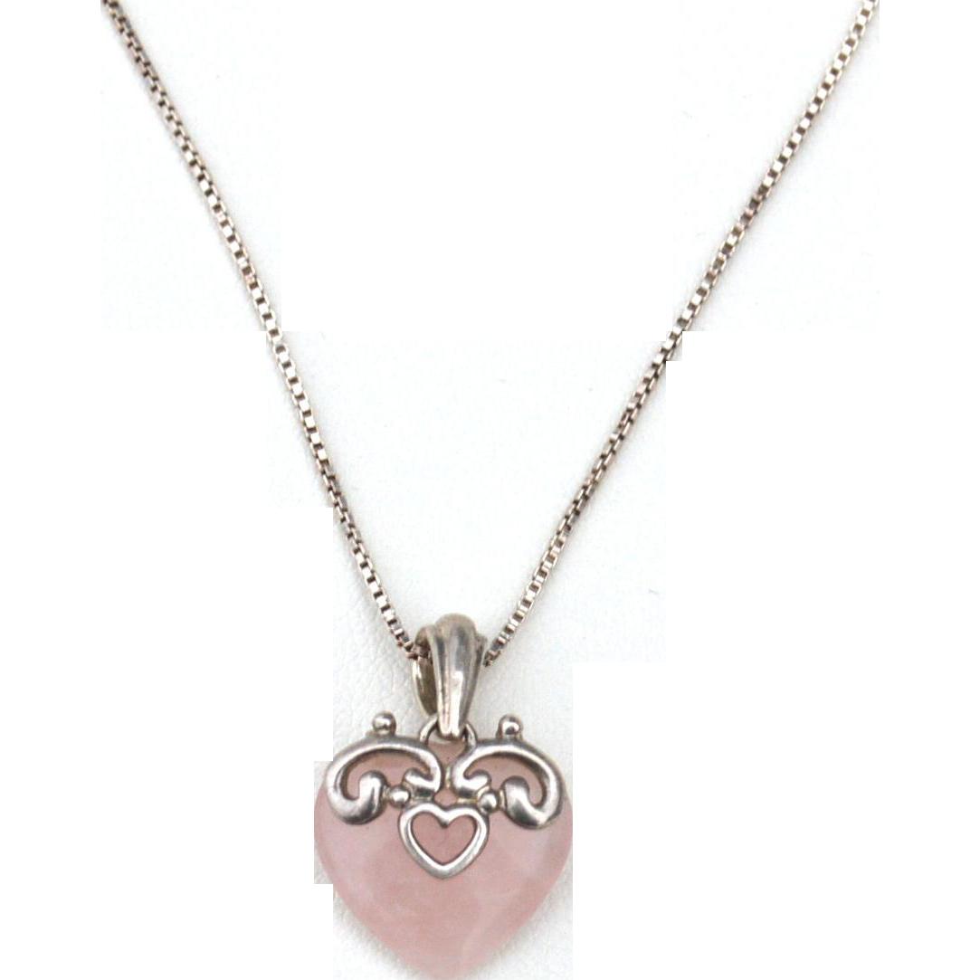 Vintage Hallmarked STERLING SILVER Italy Rose Quartz Heart Pendant Necklace