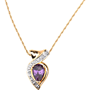 Hallmarked STERLING SILVER Amethyst Colored Stone Pendant Necklace, Gold Vermeil