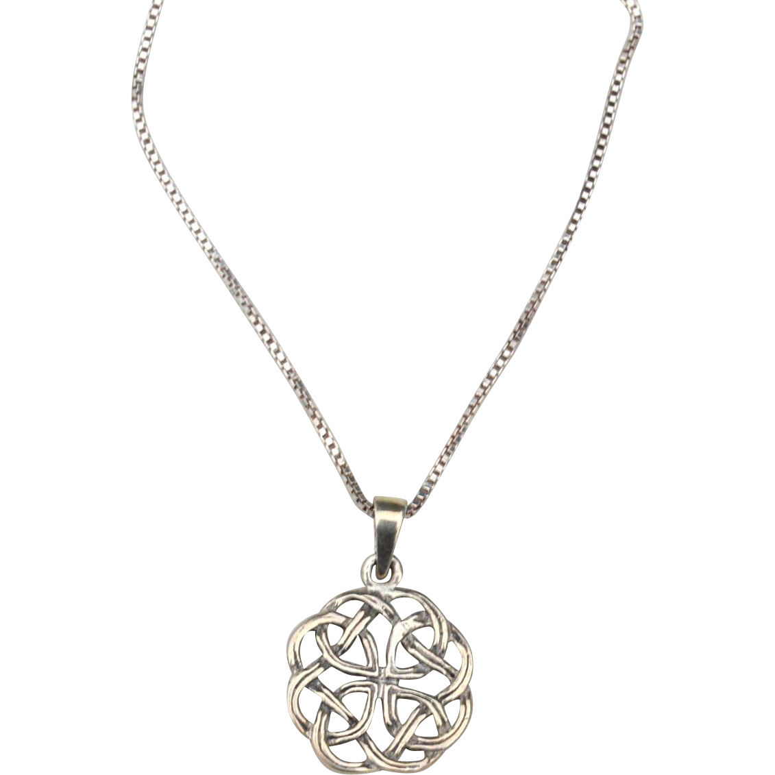 Vintage Hallmarked STERLING SILVER Celtic Love Knot Pendant Necklace, Box Chain