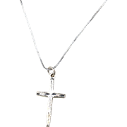 Vintage Hallmarked STERLING SILVER Cross Pendant Necklace, Box Chain