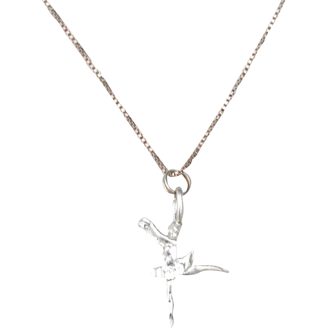 Vintage Hallmarked STERLING SILVER Italy Dancing Ballerina Pendant Necklace, Box Chain