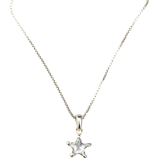 Vintage Hallmarked STERLING SILVER Star Cubic Zirconia Pendant Necklace, Box Chain