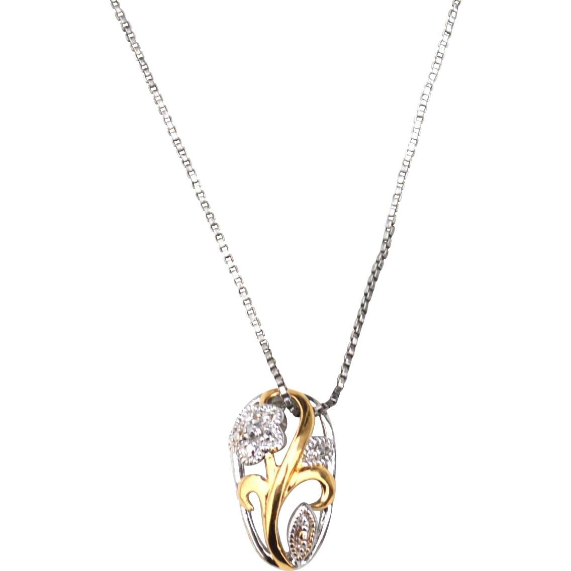 Vintage Hallmarked STERLING SILVER and Gold Vermeil Pendant Necklace, Box Chain