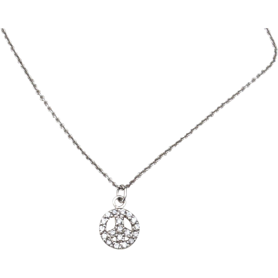 Vintage Hallmarked STERLING SILVER Peace Sign Pendant Necklace Filled With Cubic Zirconia's