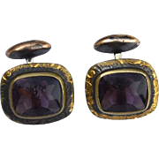 Antique Victorian Era Amethyst and Gold Filled Cuff Link Cufflinks