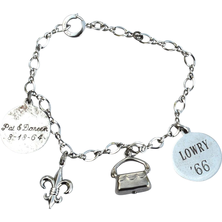 Early Hallmarked STERLING SILVER Charm Bracelet, 4 Charms